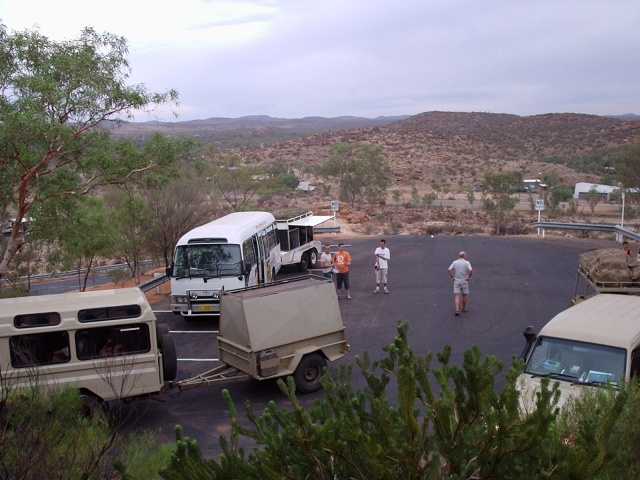 Tour buses ready to head to the Red Centre