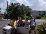 Jeff, Simon, Hanin (Israel) and Matt with our mini rental car, Cairns