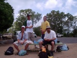 Simon, Matt, Jeff and Hanin having a picnic lunch, Port Douglas