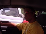 Jeff driving the mini car, Daintree river ferry
