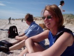 Leith (driver) and Esther (Holland) at the beach, Coorong