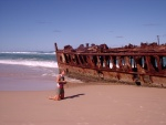 Marie at the shipwreck, Fraser Island