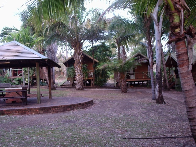 Reef'o's Hostel in Airlie Beach... we slept in those cabins