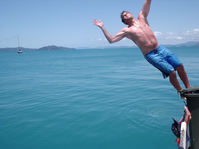 Jeff going for a backflip in the Whitsundays