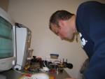 Jeff looking at the LCD on the Microcontroller board